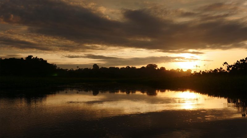 Sani Lodge lagoon at dawn  © Lang Elliott