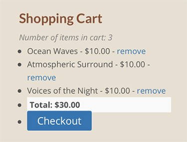 shopping cart screenshot