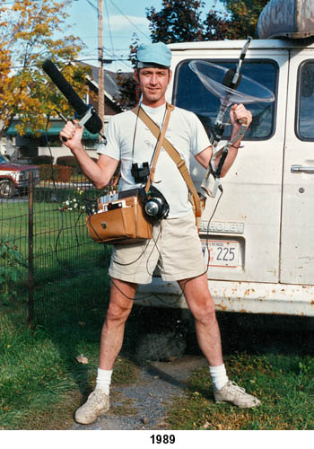 lang with recording gear in 1989, prior to expedition